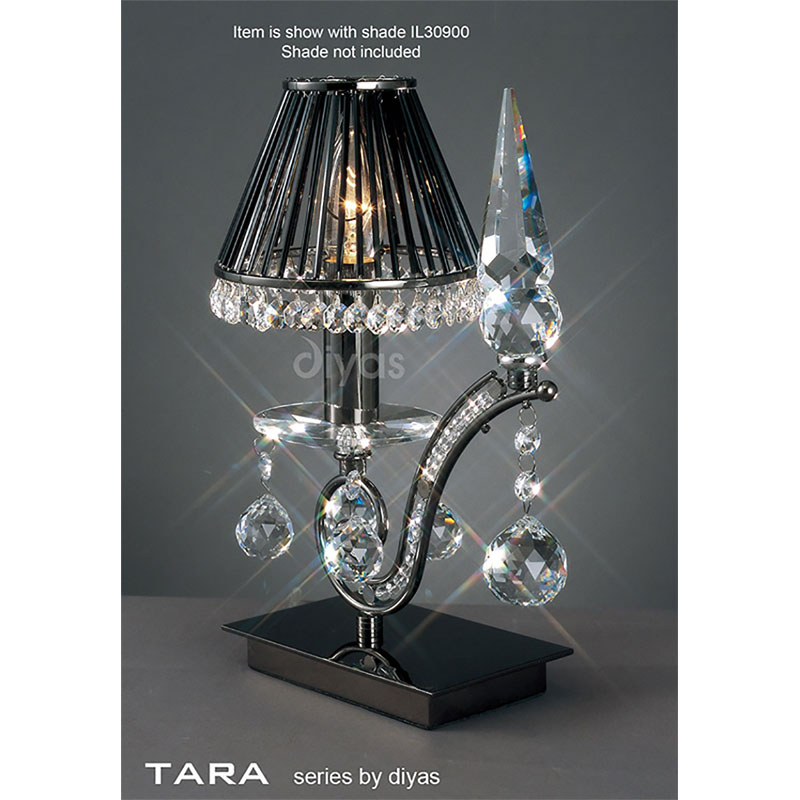 Black Chrome 1 Light Table Lamp With Crystal Detail - Modern Bedroom Decor