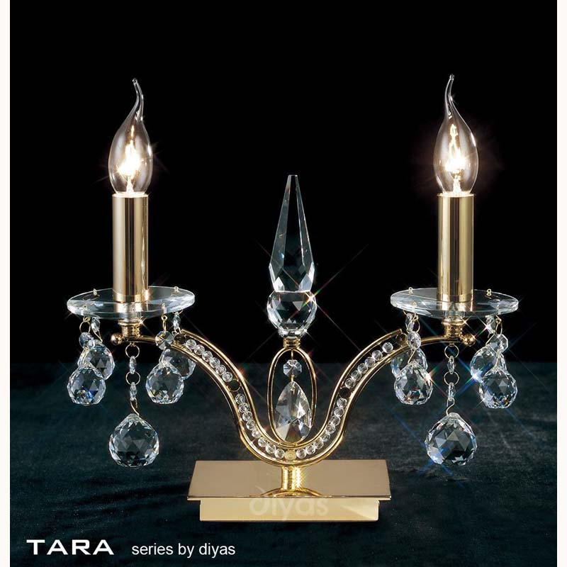 Portable 2 Light French Gold Table Lamp & Crystal Droplets