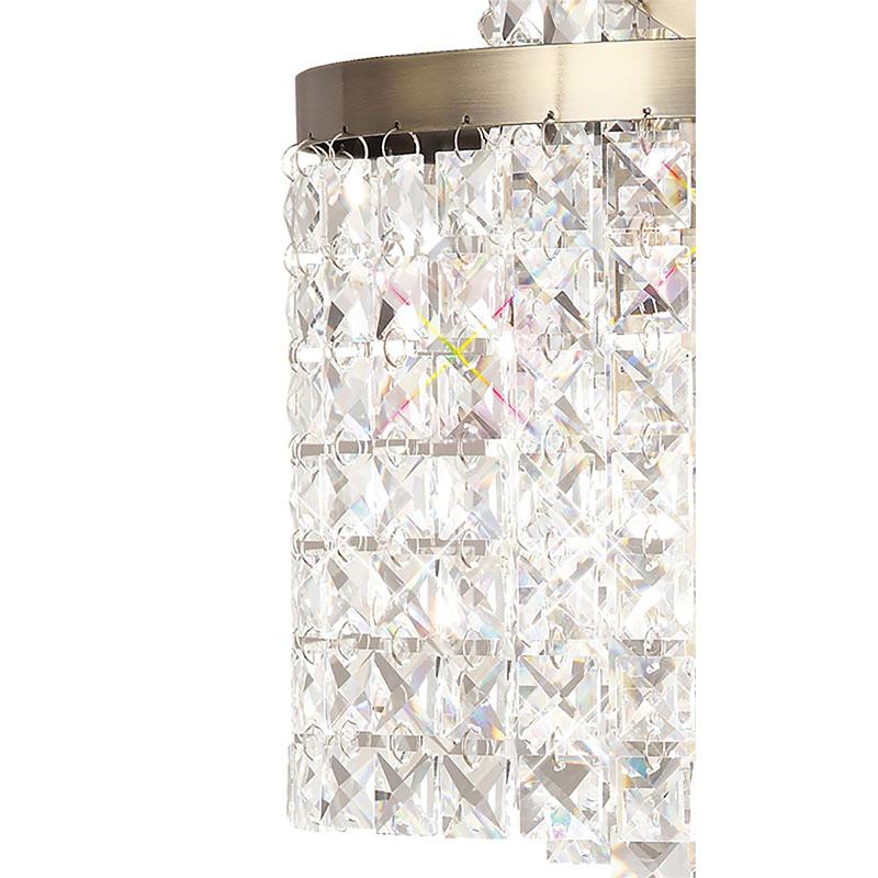 Table Lamp 3 Light Antique Brass/Crystal - Stunning Design Decor