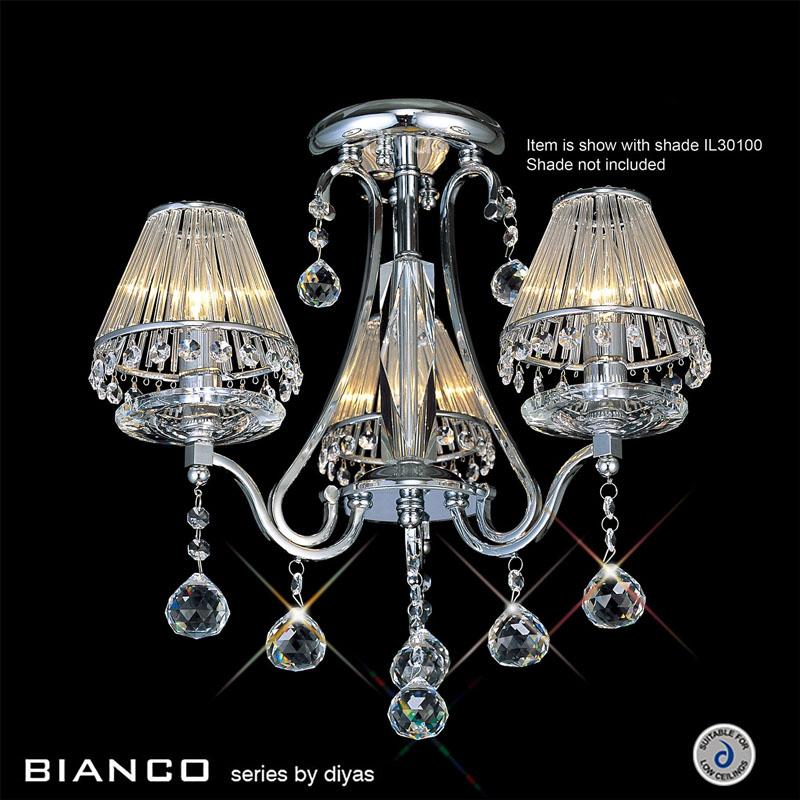 Bianco Ceiling Semi Flush 3 Light Polished Chrome/Crystal