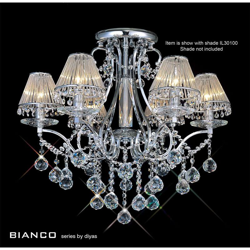 Bianco Ceiling 6 Light Polished Chrome/Crystal