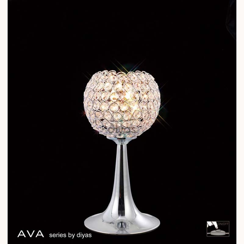 Modern And Stylish Table Lamp 2 Light Polished Chrome/Crystal