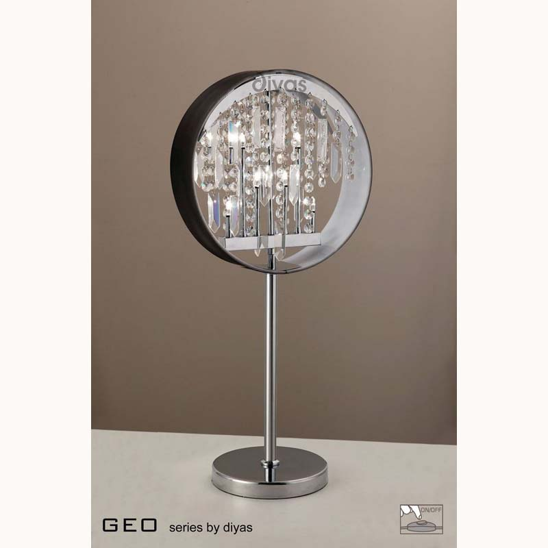 Modern Table Lamp With Black Shade 7 Light Crystal