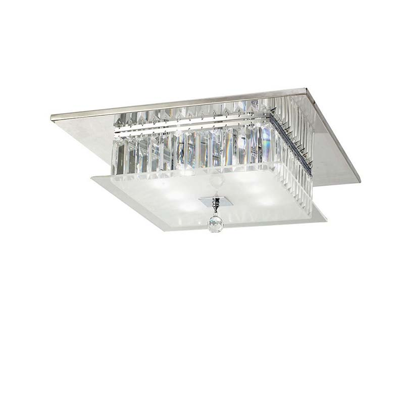 Tosca Ceiling Square 6 Light Polished Chrome/Glass/Crystal
