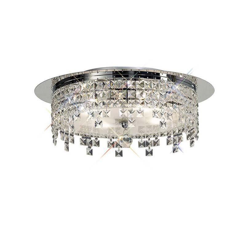 Este Ceiling Round 6 Light Polished Chrome/Glass/Crystal