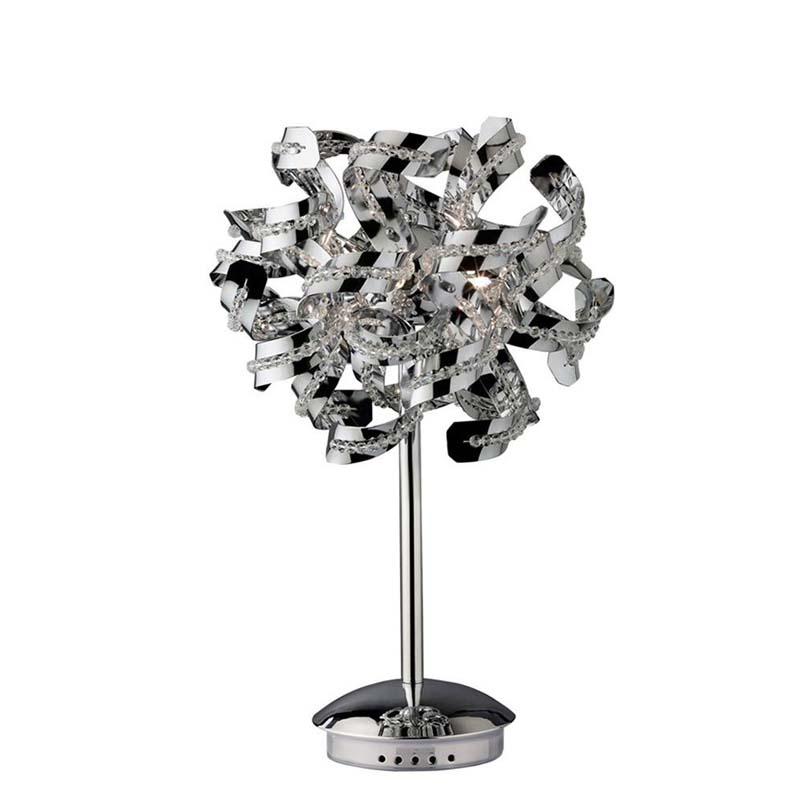 Stunning Designer Polished Chrome 5 Light Table Lamp & Crystal