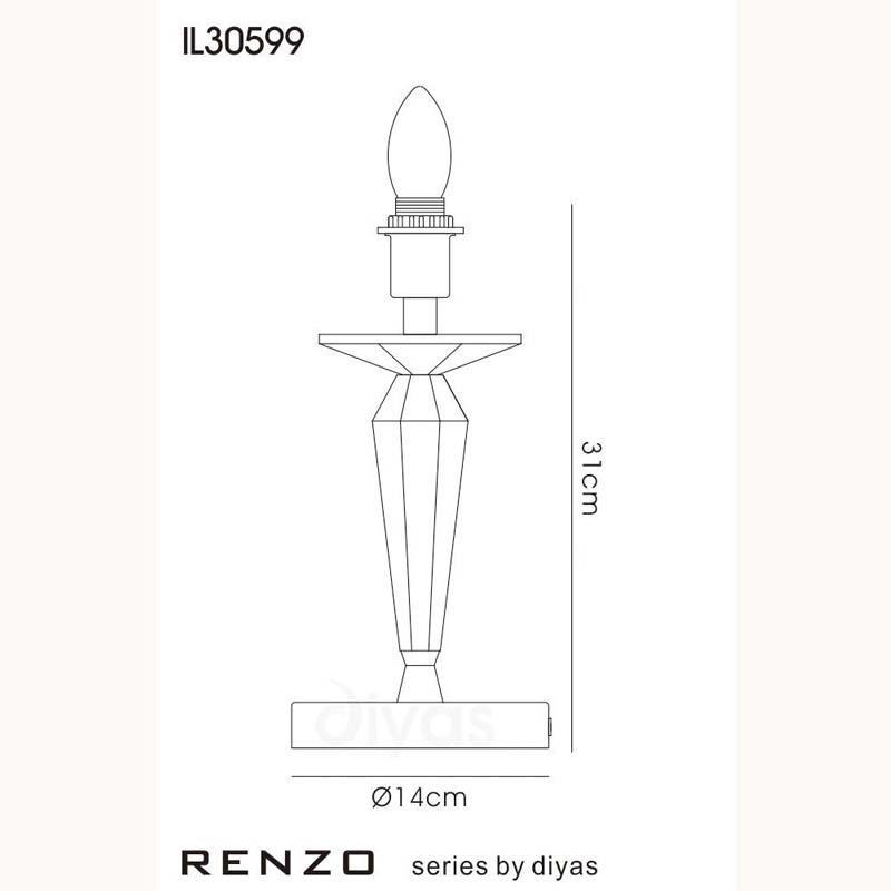 Table Lamp 1 Light Polished Chrome/Crystal - Modern Bedside Decor