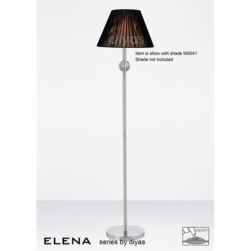 Elena Floor Lamp Without Shade 1 Light Polished Chrome/Crystal