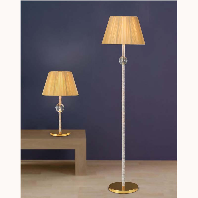 Elena Floor Lamp Without Shade 1 Light French Gold/Crystal