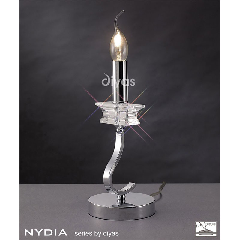Designer Table Lamp Polished Chrome/Crystal 1 Light Without Shade