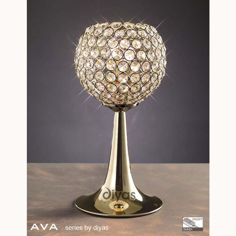 French Gold 2 Light Table Lamp With Crystal Detail
