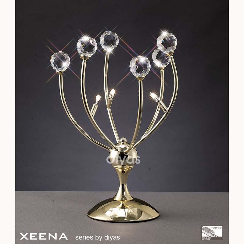 French Gold 3 Light Stylish Crystal Table Lamp