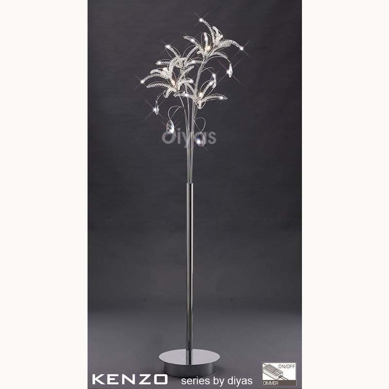 Kenzo Floor Lamp 6 Light Polished Chrome/Crystal