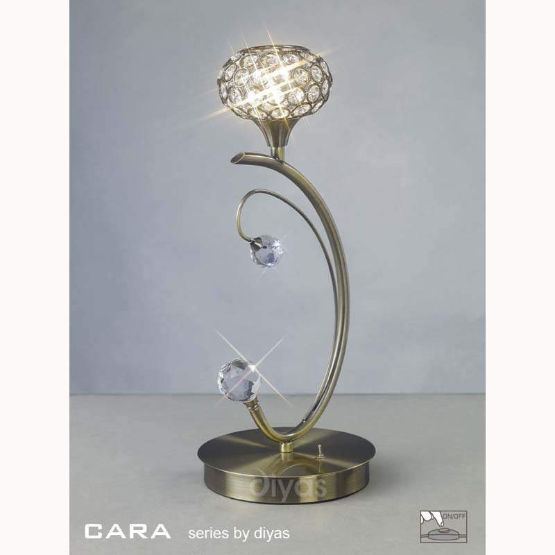 1 Light Modern Style Crystal Table Lamp With Antique Brass Finish