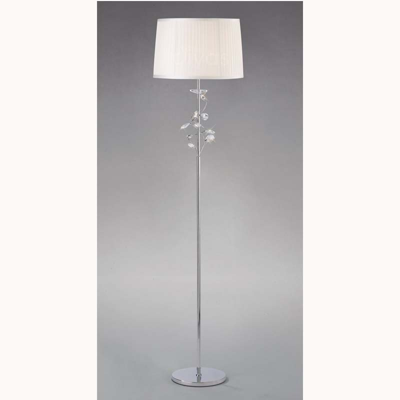 Polished Chrome 1 Light Floor Lamp With White Shade & Crystal Leafs for Decor