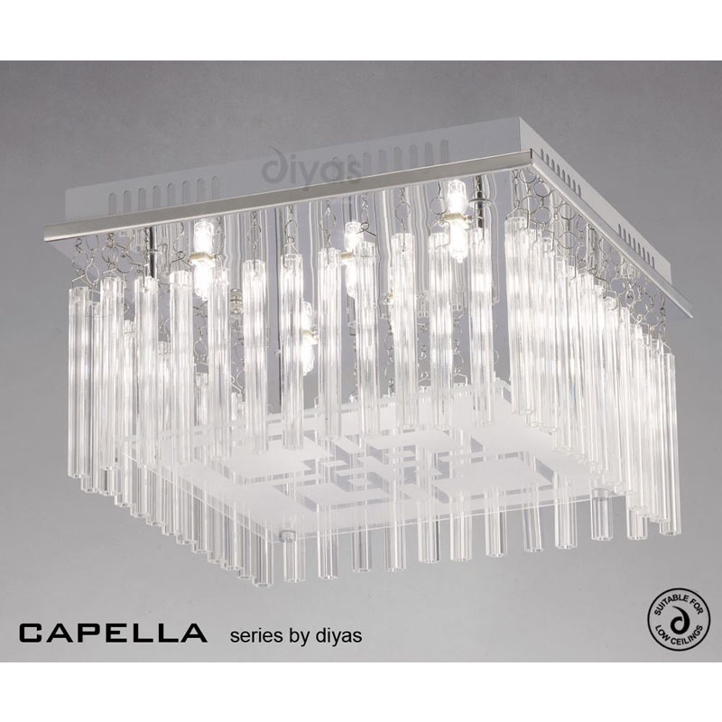 Capella Ceiling 6 Light Polished Chrome/Glass