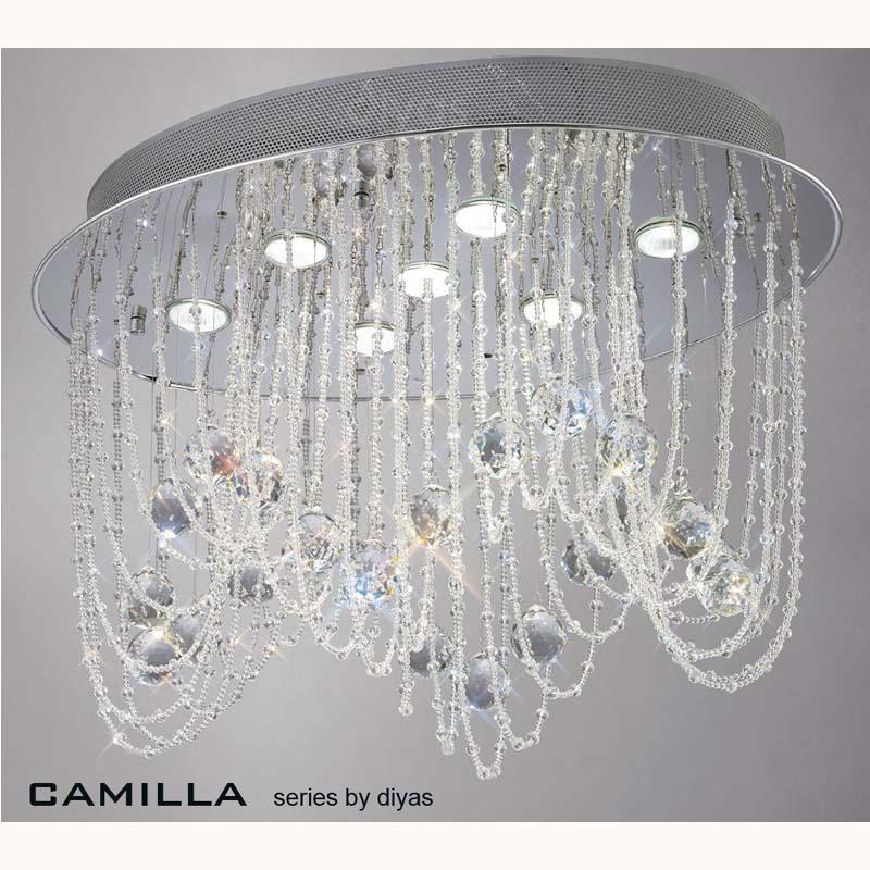 Camilla Ceiling Oval 7 Light Polished Chrome/Crystal