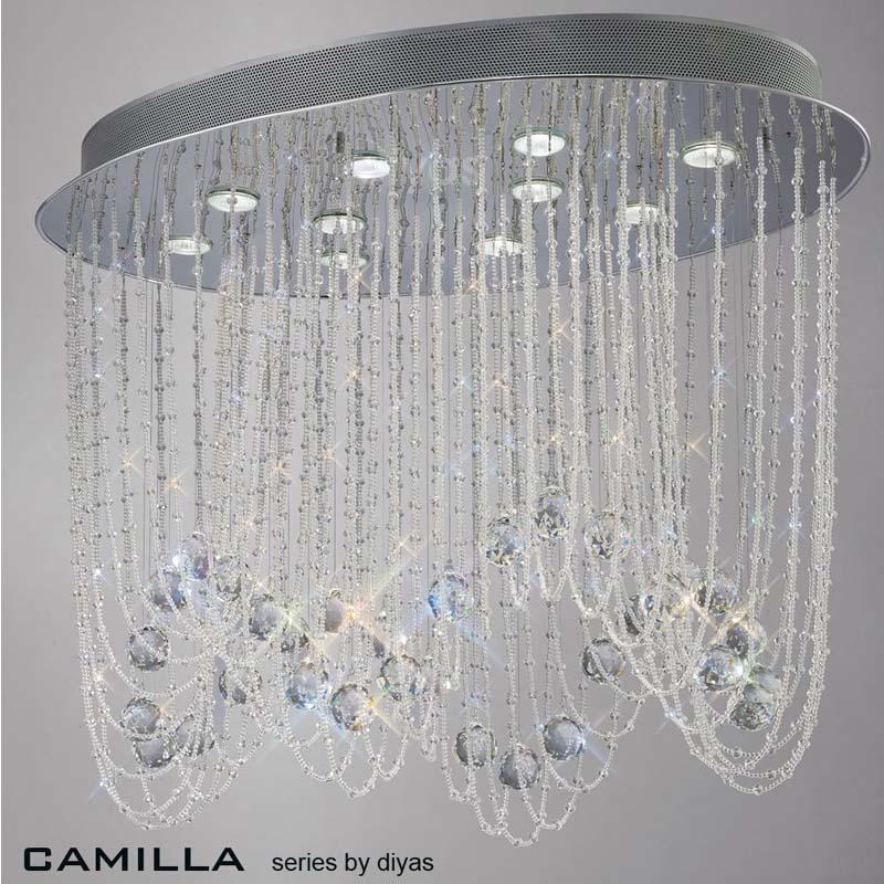 Camilla Ceiling Oval 10 Light Polished Chrome/Crystal