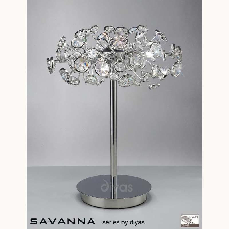 Stylish Table Lamp 3 Light Polished Chrome/Crystal - Home Decor