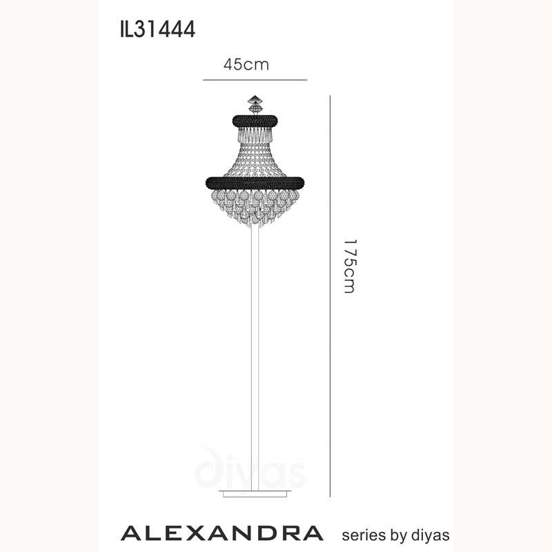Alexandra Floor Lamp 8 Light Polished Chrome/Crystal