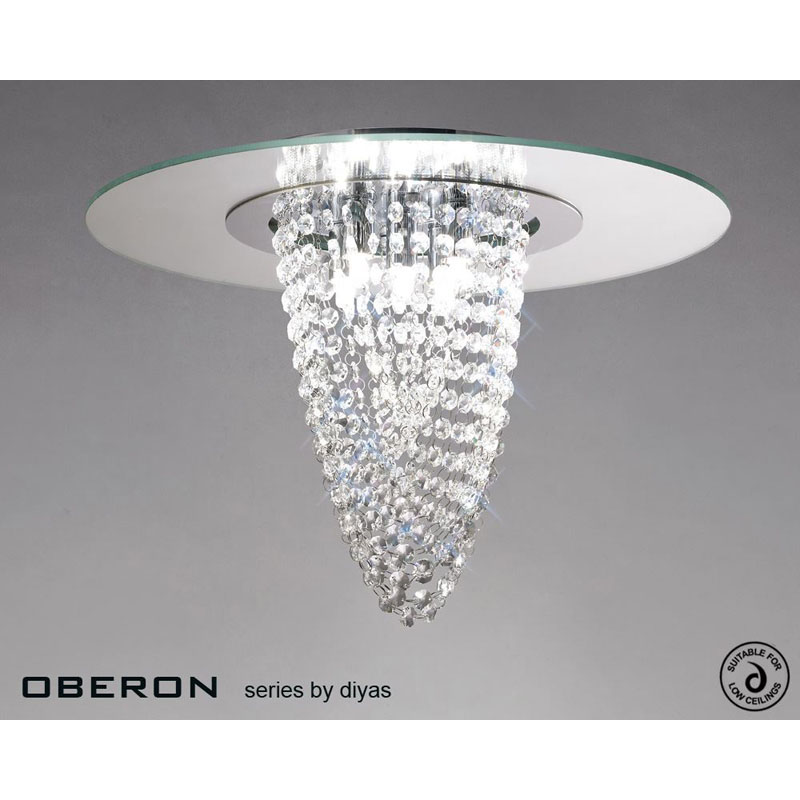 Oberon Ceiling 5 Light Polished Chrome/Mirror/Crystal