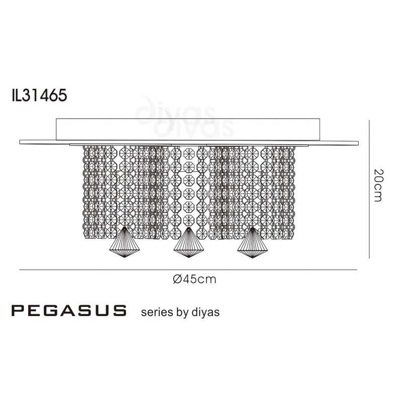 Pegasus Ceiling 3 Light Polished Chrome/Mirror/Crystal