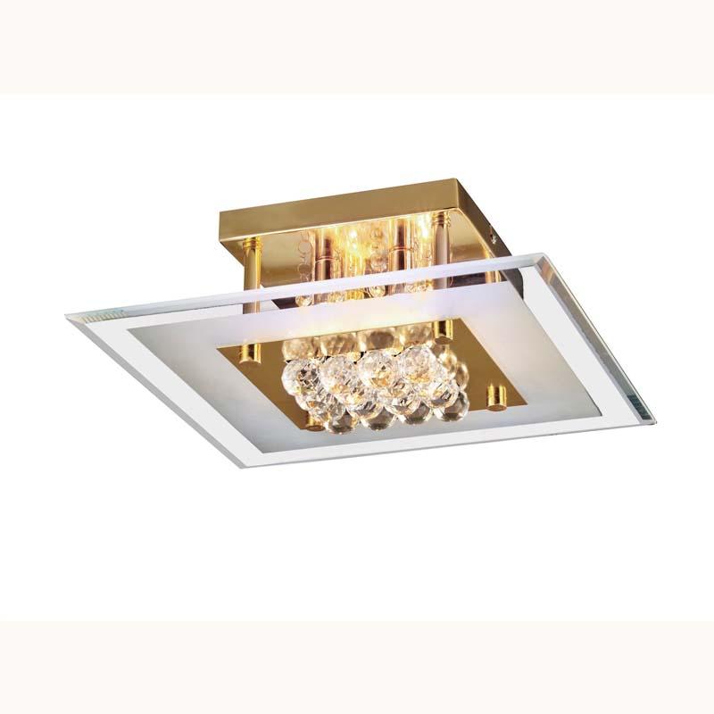 Delmar Semi Flush Square 4 Light French Gold/Glass/Crystal