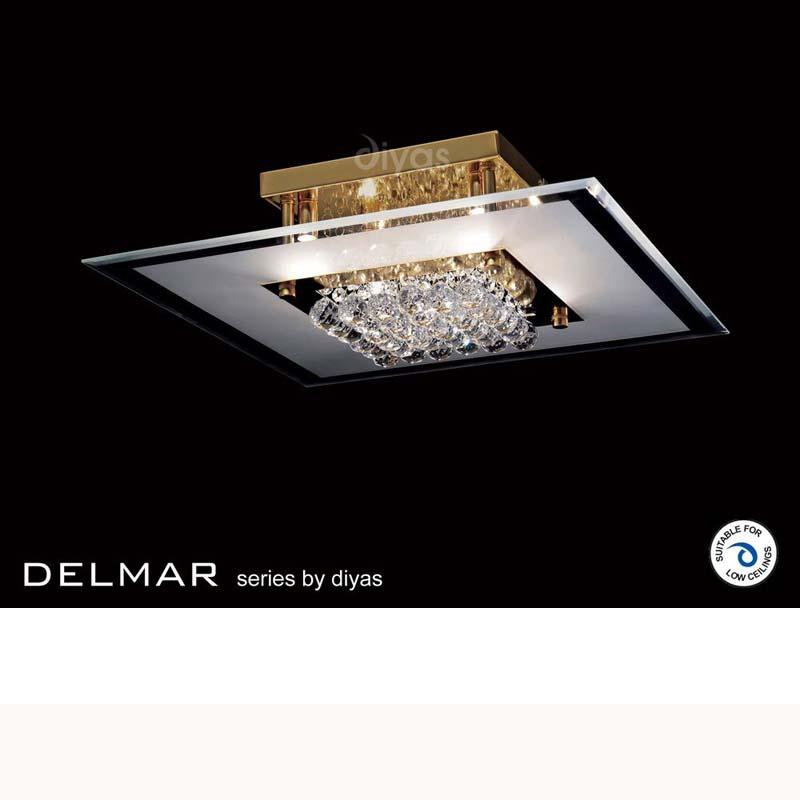 Delmar Flush Square 6 Light French Gold/Glass/Crystal