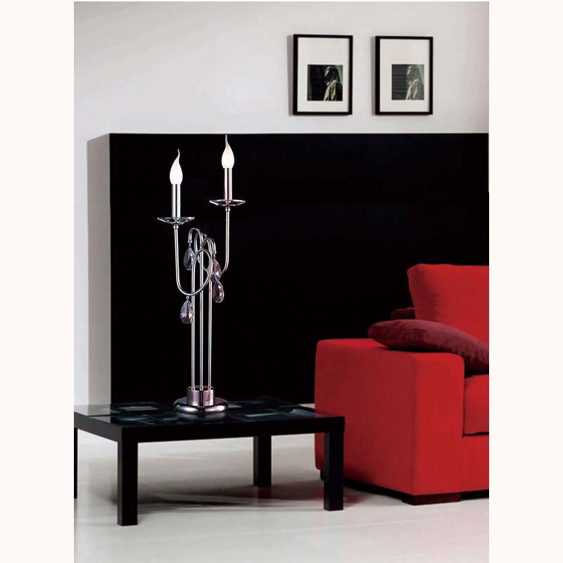 Stylish Polished Chrome 2 Light Table Lamp With Crystal Detail