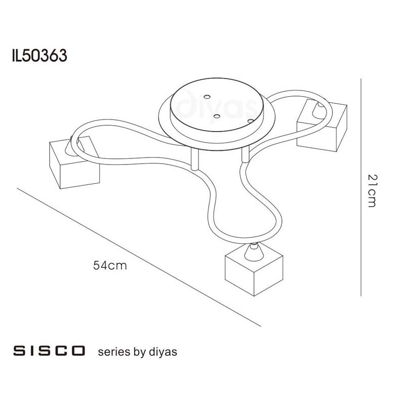 Sisco Semi Flush Ceiling Round 3 Light Polished Chrome