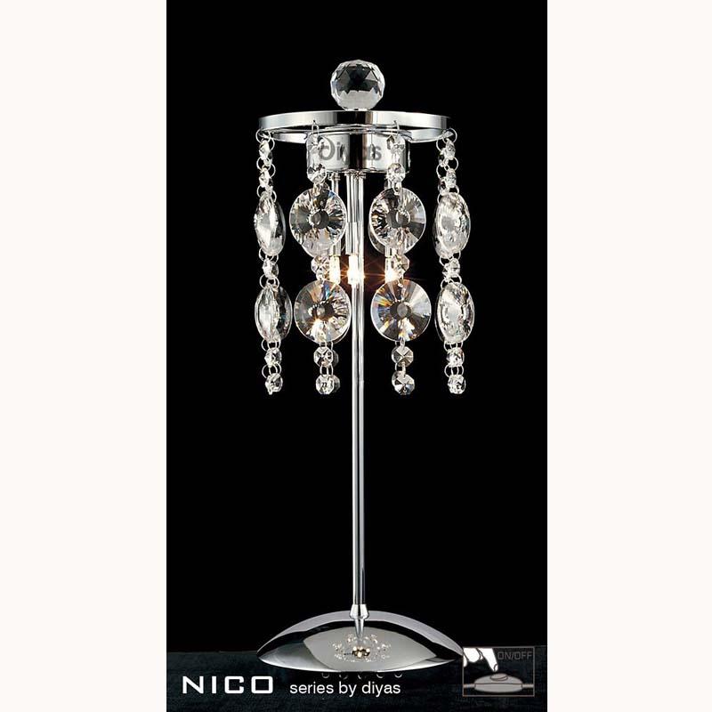 Table Lamp 3 Light Polished Chrome/Crystal - Decorative Lighting