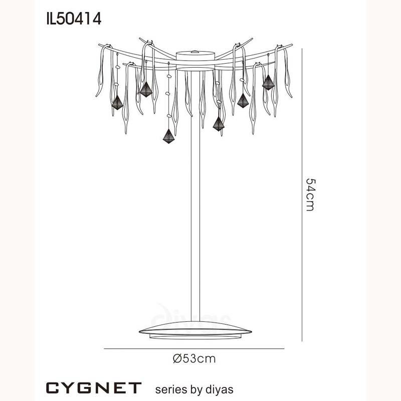 6 Light Designer Table Lamp Black Glass/Crystal - Bedroom Lighting