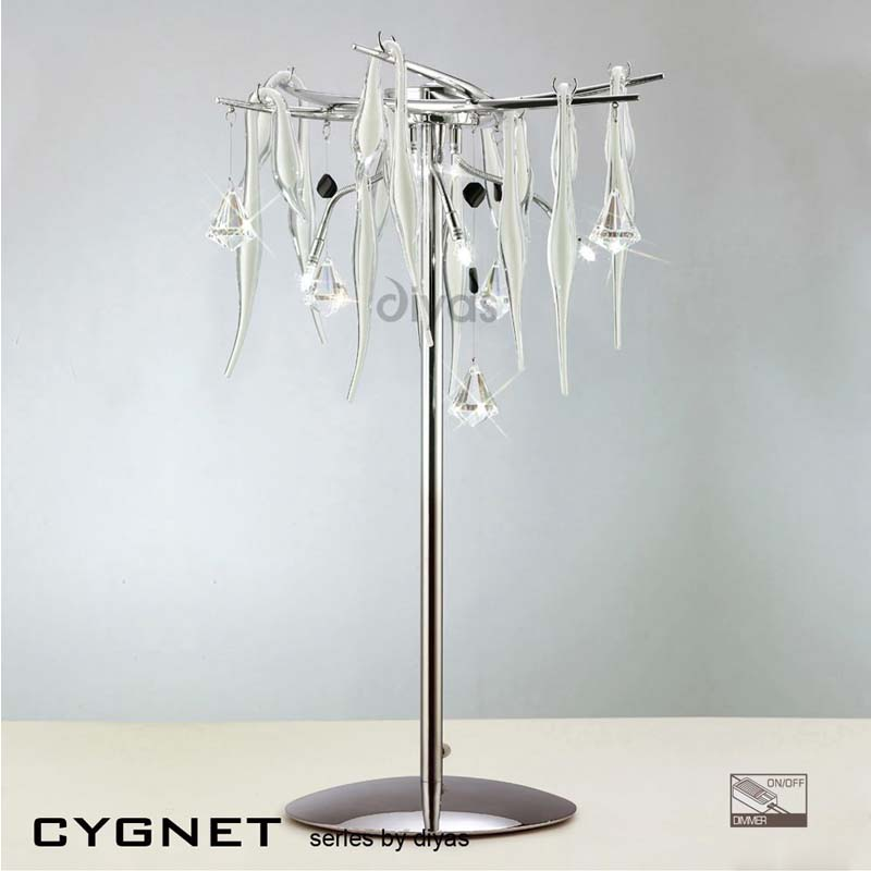 White Glass & Clear Crystal Decorative Table Lamp With 6 Lights