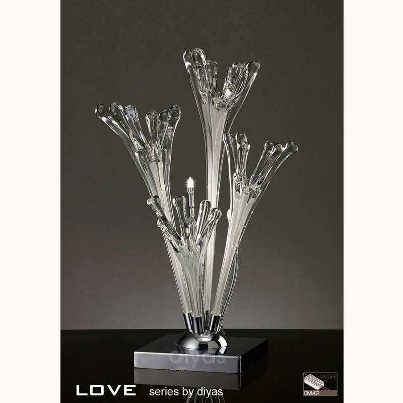 Table Lamp 3 Light Polished Chrome/White Glass