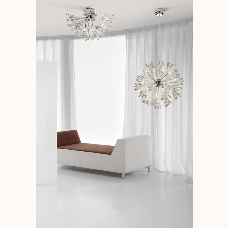 Love Ceiling Large 9 Light Polished Chrome/White Glass