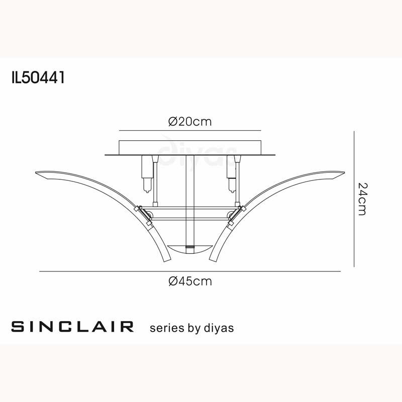 Stylish Sinclair Ceiling Semi Flush 4 Light Polished Chrome