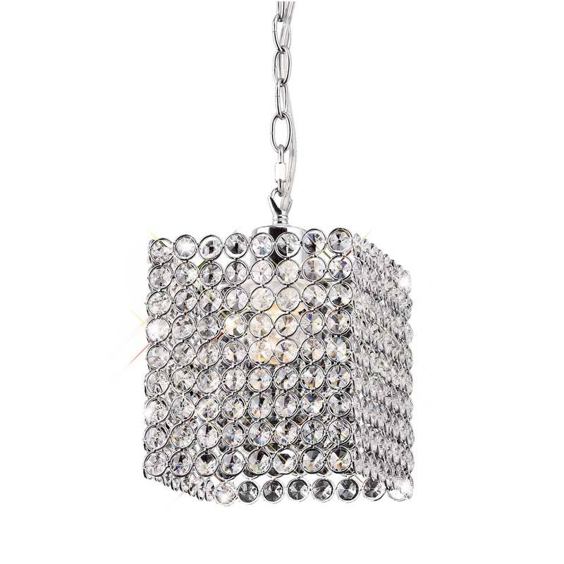 Kudo Polished Chrome Non-Electric Chandelier With Crystal Shade
