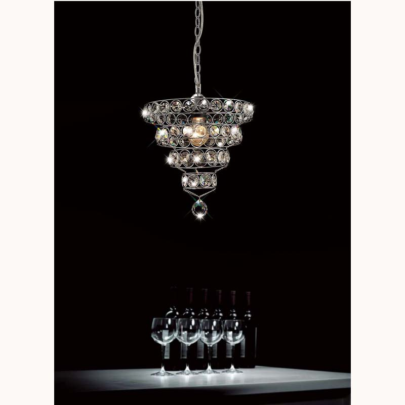 Polished Chrome Non-Electric Ceiling Chandelier & Crystal Ring Shade