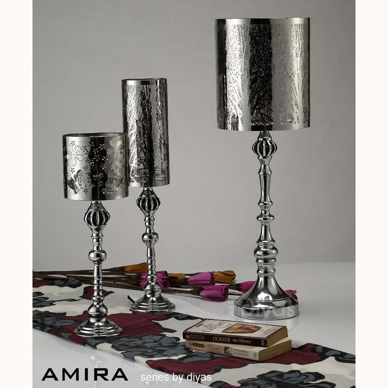 Metal Art Large Polished Chrome Candlestick Table Lamp
