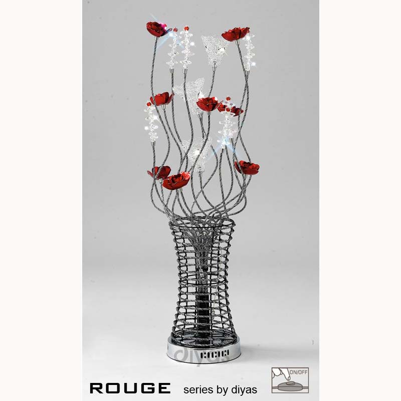 Table Lamp 5 Light Black/Red/Chrome/Crystal - Living Room Decor