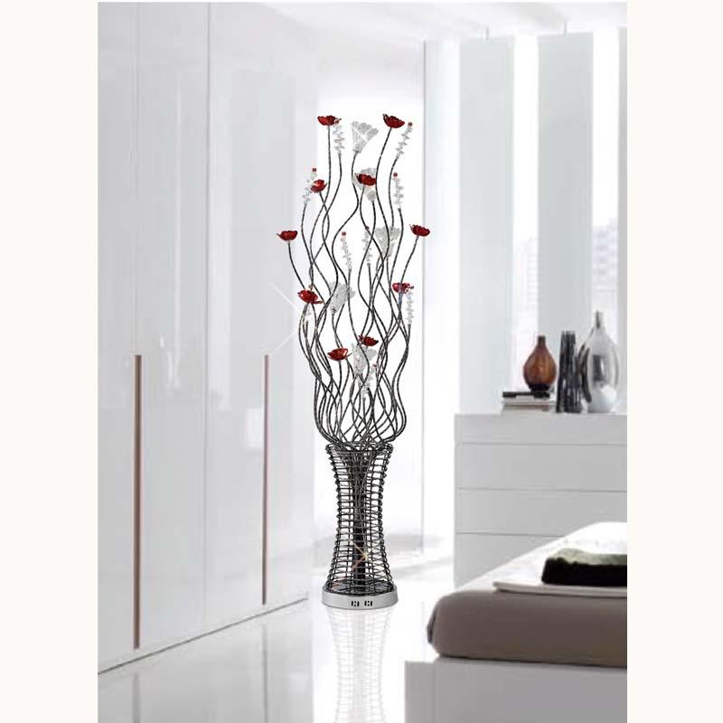 Rouge Floor Lamp 7 Light Black/Red/Chrome/Crystal
