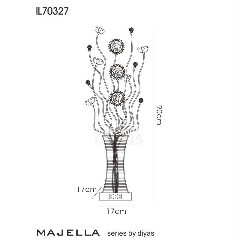 4 Light Table Lamp Polished Chrome/Coffee/Crystal For Living Room