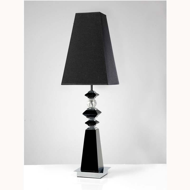 Table Lamp 1 Light Black/Crystal/Polished Chrome - Stunning Home Decor