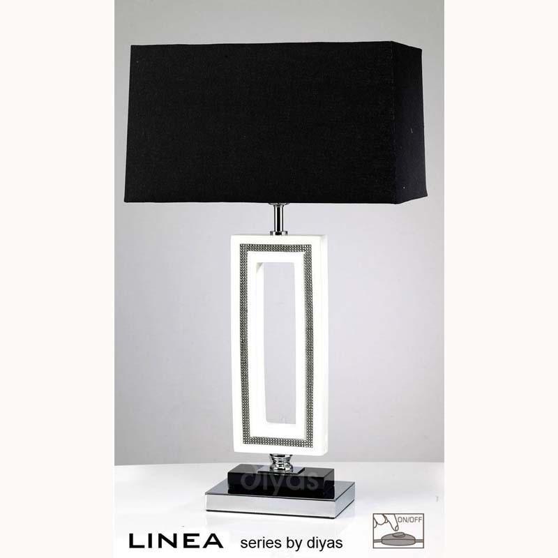 Polished Chrome Rectangle Table Lamp & White Crystal