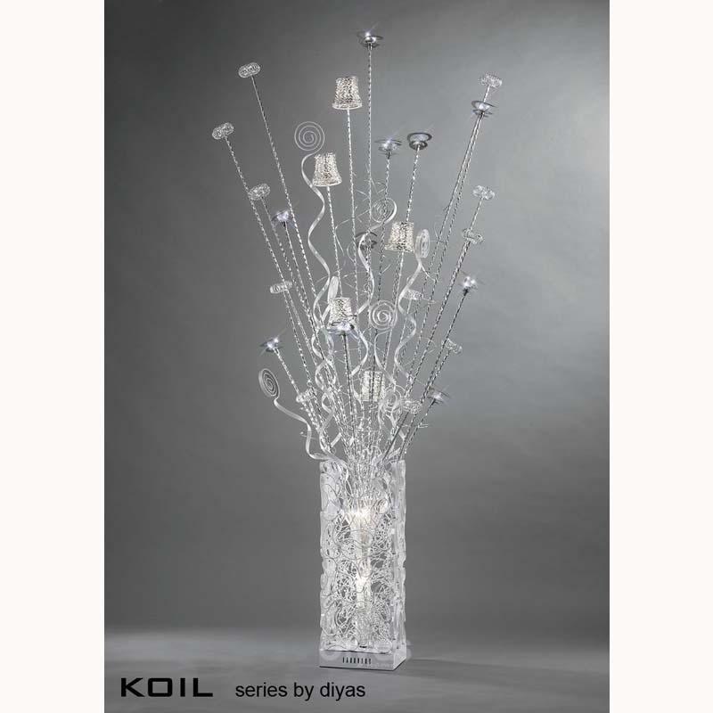 Koil 7 Light Aluminium/White Floor Lamp