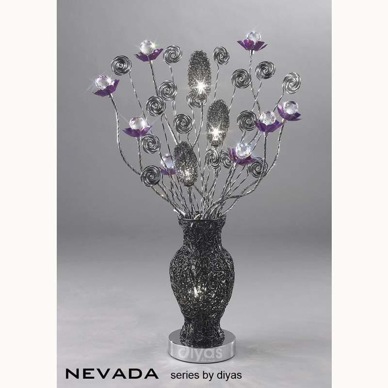 4 Light Black/Purple Table Lamp For Sparkle Decor/Slender Base