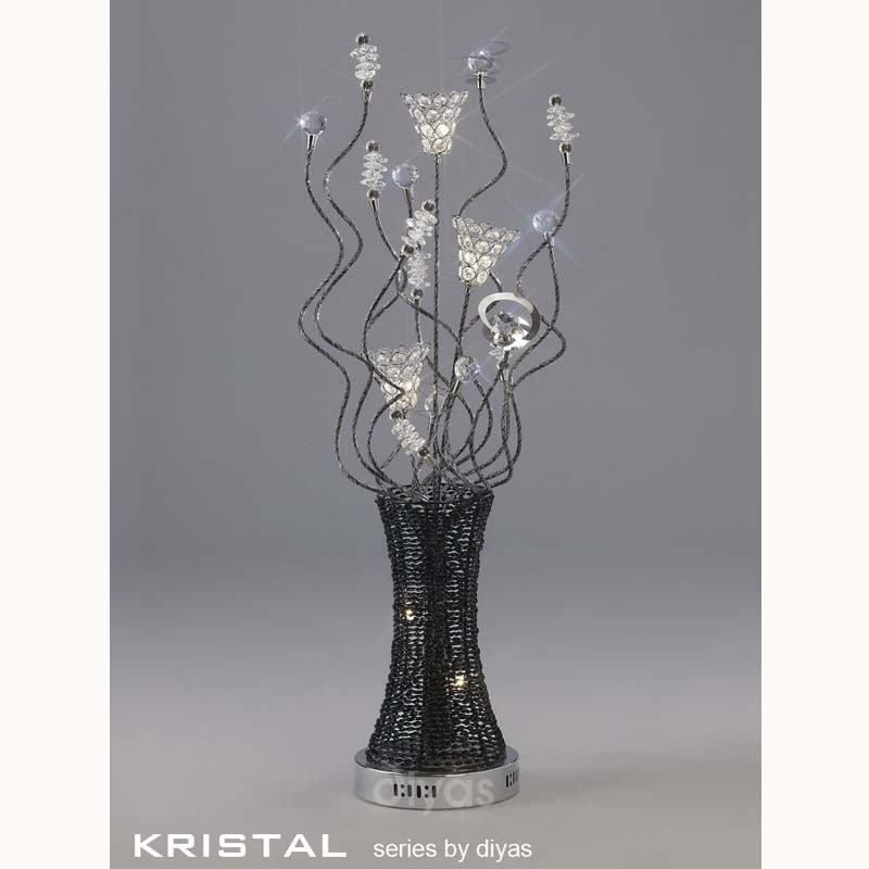 Table Lamp Polished Chrome/Black/Crystal - 5 Light Living Decor
