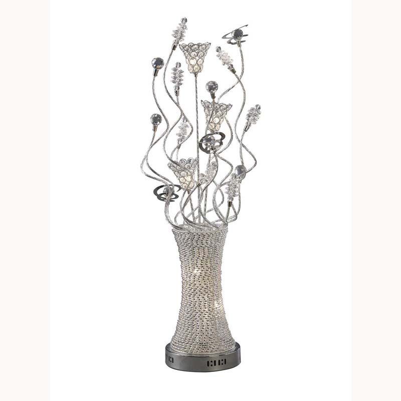 Portable Crystal Table Lamp 5 Light Polished Chrome/Silver Finish