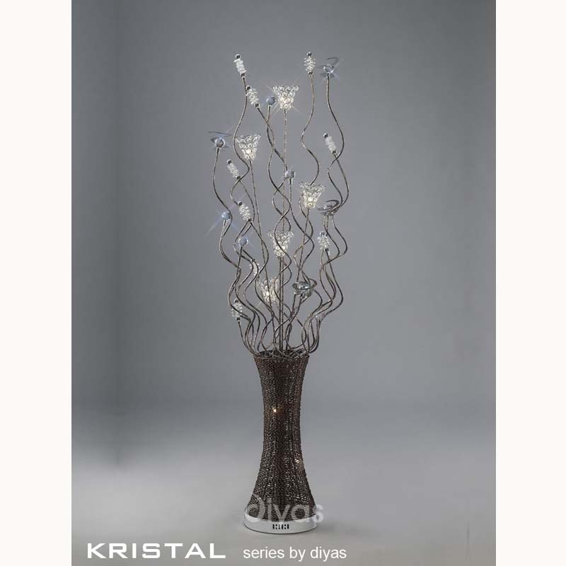 Kristal Floor Lamp 7 Light Polished Chrome/Coffee/Silver/Crystal
