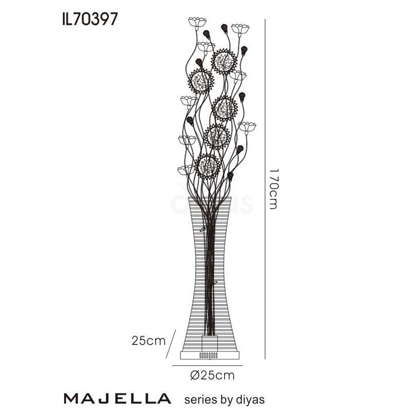 Majella Floor Lamp 7 Light Polished Chrome/Black/Silver/Crystal